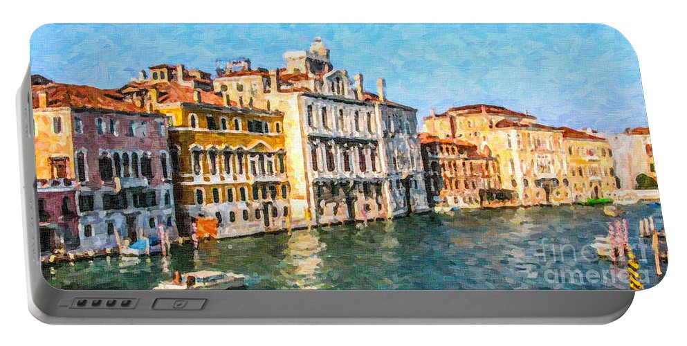 Venice Portable Battery Charger featuring the digital art Venice - Grand Canal by Liz Leyden