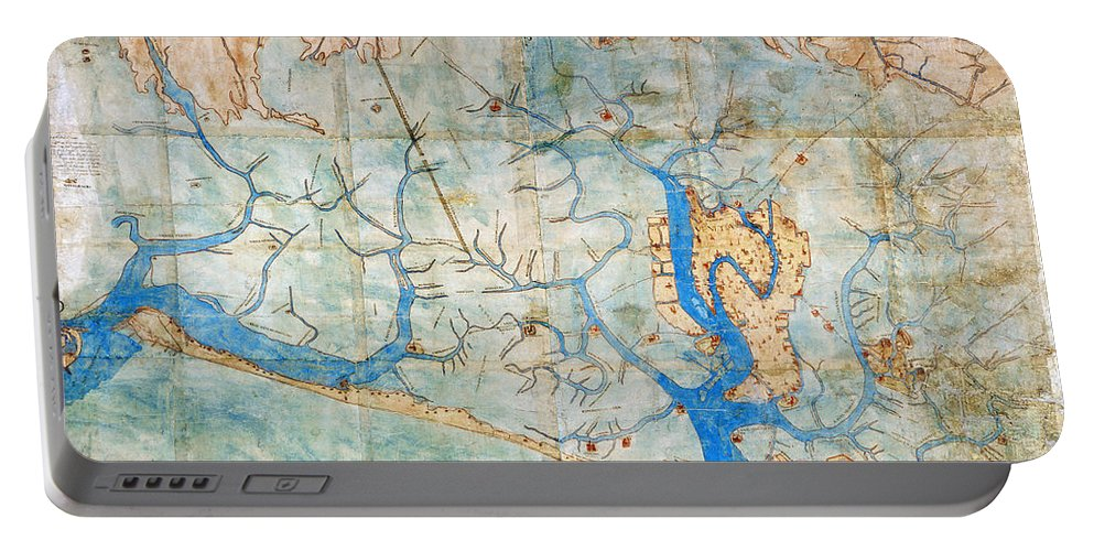 1546 Portable Battery Charger featuring the photograph Venice: Map, 1546 by Granger