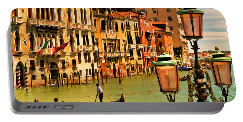 Venice Portable Battery Charger featuring the digital art Venice Street Lamp by Mick Burkey