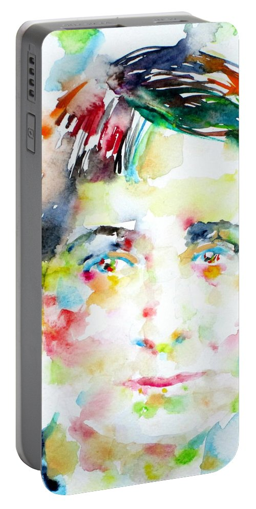 Vera Brittain Portable Battery Charger featuring the painting Vera Brittain - Watercolor Portrait by Fabrizio Cassetta