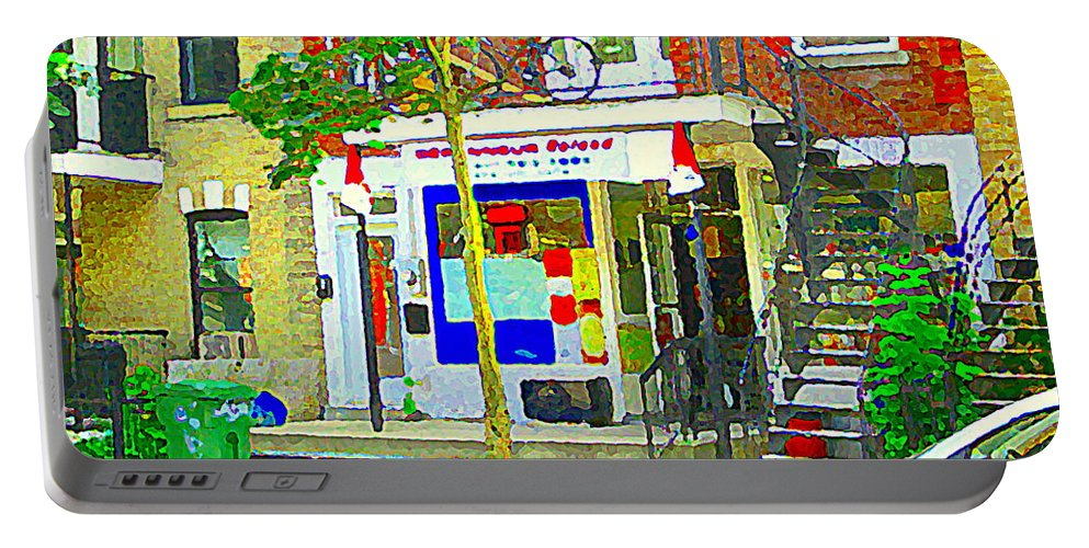Montreal Portable Battery Charger featuring the painting Verdun City Life Bike On Balcony Above Favorite Depanneur Montreal Stairs Summer Scenes Cspandau by Carole Spandau