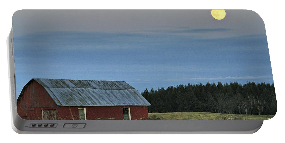 Moon Portable Battery Charger featuring the photograph Vermont Full Moon by Deborah Benoit
