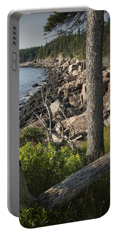 Art Portable Battery Charger featuring the photograph Vertical Photograph Of The Rocky Shore In Acadia National Park by Randall Nyhof