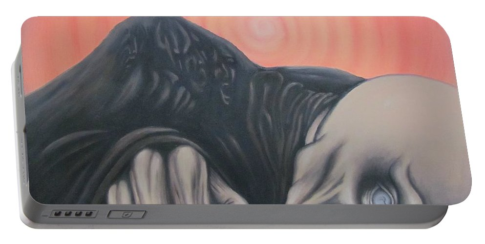 Tmad Portable Battery Charger featuring the painting Vertigo by Michael TMAD Finney