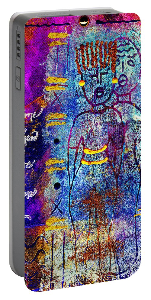 Woman Portable Battery Charger featuring the mixed media Very Close Friends by Angela L Walker