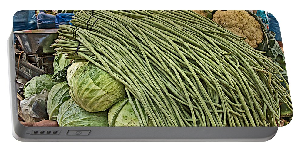 Very Long String Beans In Mangal Bazaar In Patan In Nepal Portable Battery Charger featuring the photograph Very Long String Beans In Mangal Bazaar In Patan-nepal by Ruth Hager