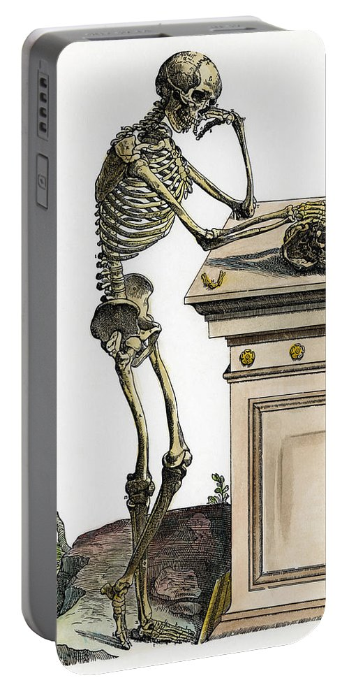 1543 Portable Battery Charger featuring the photograph Vesalius: Skeleton, 1543 by Granger