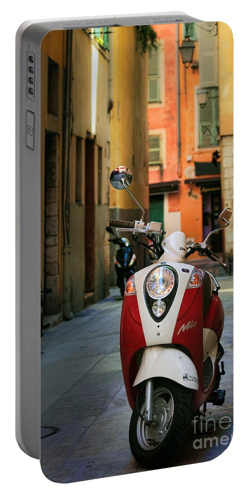 Cote Azur Portable Battery Charger featuring the photograph Nicoise Scooter by Inge Johnsson