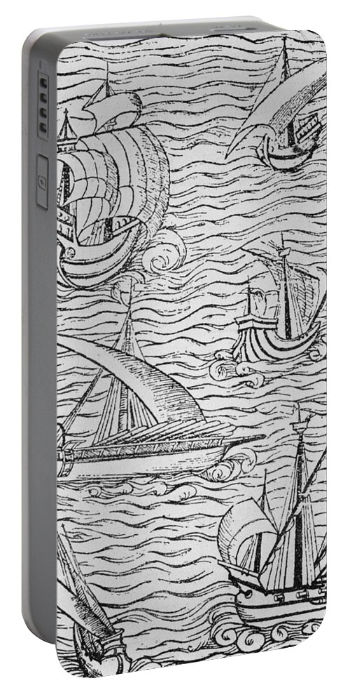 Spanish; Ship; Vessel; Boat; Galleon; Fleet Portable Battery Charger featuring the painting Vessels Of Early Spanish Navigators From The Narrative And Critical History Of American by English School