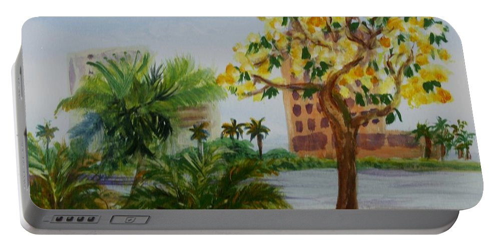 Delray Beach Portable Battery Charger featuring the painting Veterans Park In Delray Beach by Donna Walsh