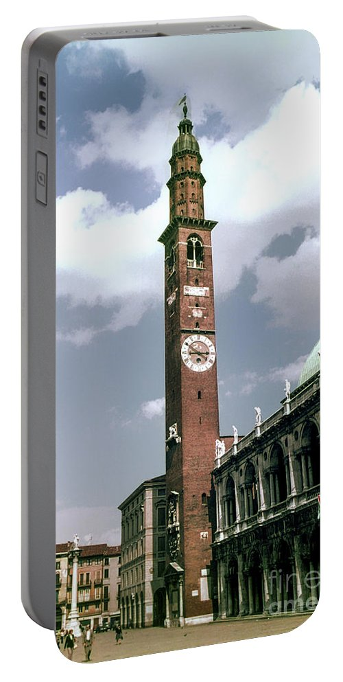 Vicenza Basilica Of Palladio Church Churches Building Buildings Clock Tower Clocks Towers City Cities Cityscape Cityscapes Structure Structures Architecture Image Portable Battery Charger featuring the photograph Vicenza Clock Tower by Bob Phillips