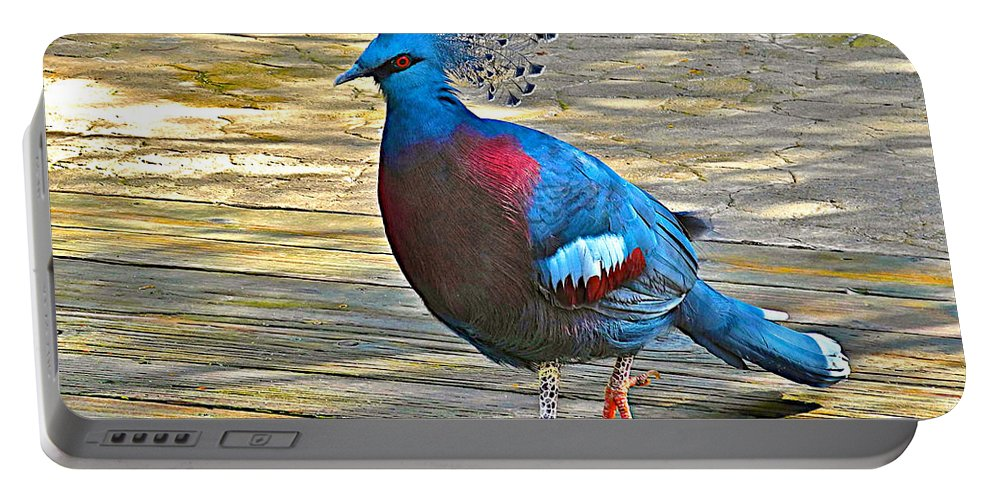 Victoria Crowned Pigeon In San Diego Zoo Safari Park In Escondido Portable Battery Charger featuring the photograph Victoria Crowned Pigeon In San Diego Zoo Safari In Escondido-california by Ruth Hager