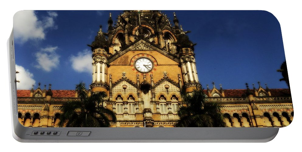 Wallpaper Buy Art Print Phone Case T-shirt Beautiful Duvet Case Pillow Tote Bags Shower Curtain Greeting Cards Mobile Phone Apple Android Nature Chhatarpati Shivagi Terminus Queen Victoria Clocktower Building British Architecture Mumbai Bombay Old Classic Neo Gothic Salman Ravish Khan Portable Battery Charger featuring the photograph Victoria Terminus by Salman Ravish