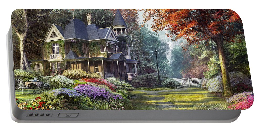 Victorian Portable Battery Charger featuring the digital art Victorian Garden by Dominic Davison