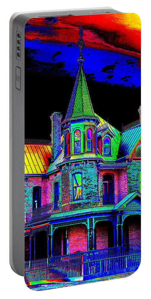 House Portable Battery Charger featuring the photograph Victorian House Pop Art by Phyllis Denton