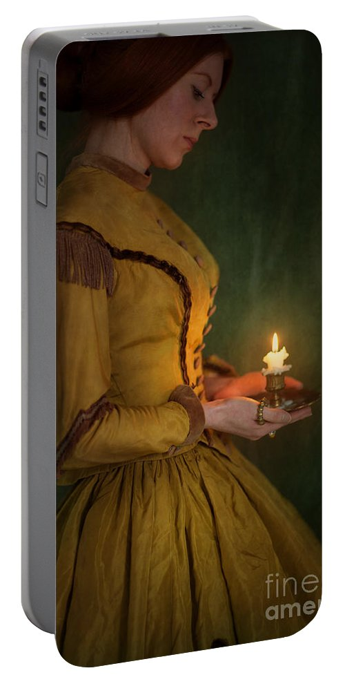 Victorian Portable Battery Charger featuring the photograph Victorian Woman Holding A Candle by Lee Avison