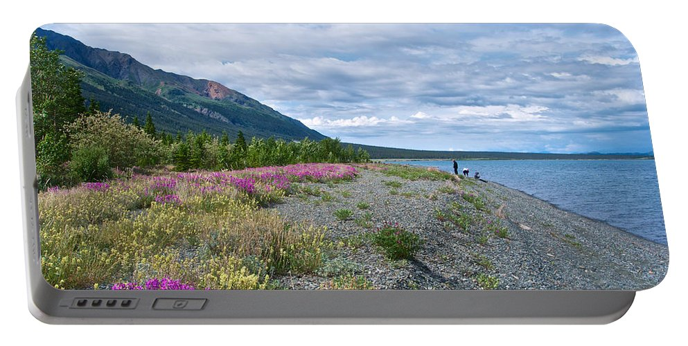 View Four Kluane Lake From Cottonwood Campground Near Destruction Bay Portable Battery Charger featuring the photograph View Four Kluane Lake From Cottonwood Campground Near Destruction Bay-yk by Ruth Hager