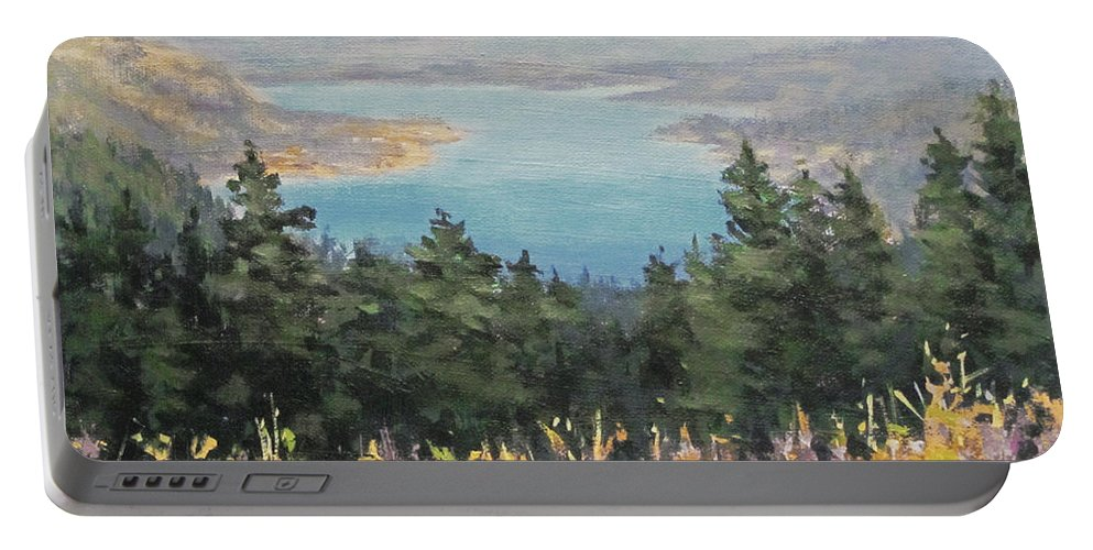 River Portable Battery Charger featuring the painting View From Above by Karen Ilari