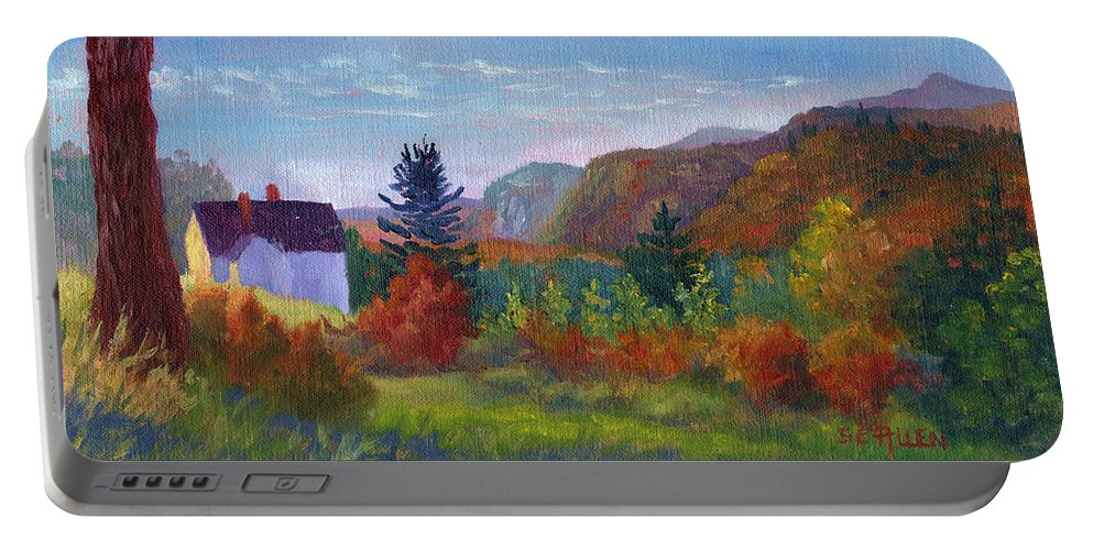 Cathedral Ledge Portable Battery Charger featuring the painting View from Thorn Hill Road by Sharon E Allen