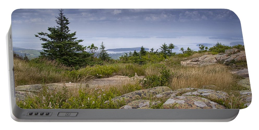 Art Portable Battery Charger featuring the photograph View From Top Of Cadilac Mountain In Acadia National Park by Randall Nyhof