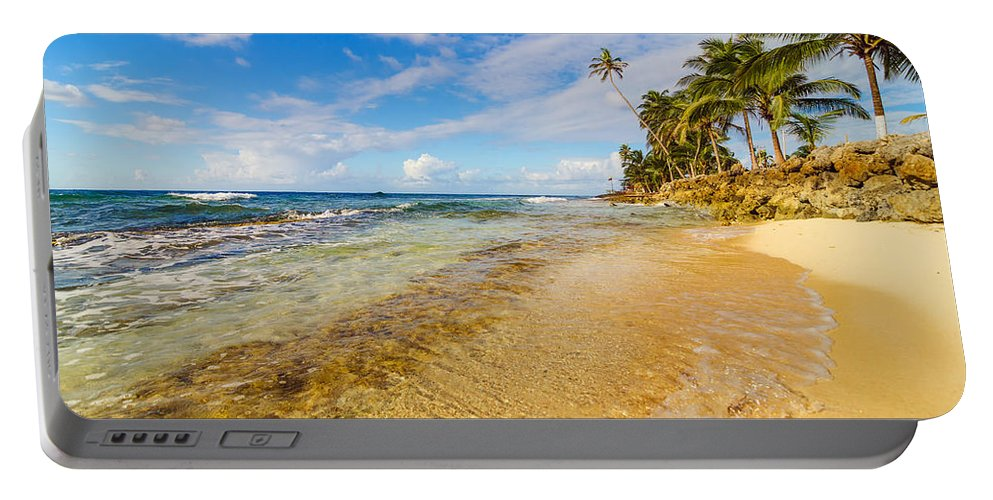 Bay Portable Battery Charger featuring the photograph View Of Caribbean Coastline by Jess Kraft