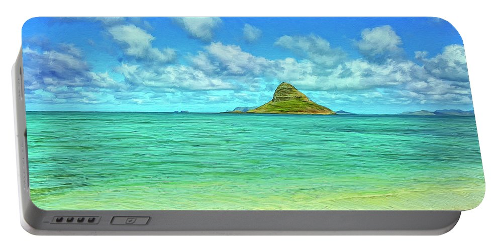 Chinaman's Hat Portable Battery Charger featuring the painting View Of Chinaman's Hat by Dominic Piperata