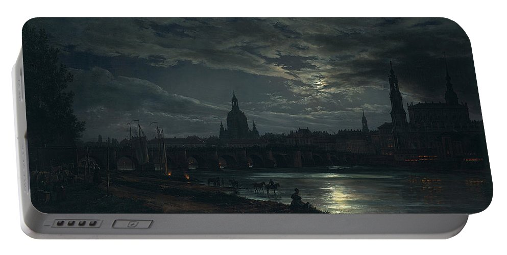 Johan Christian Dahl Portable Battery Charger featuring the painting View Of Dresden By Moonlight by Johan Christian Dahl