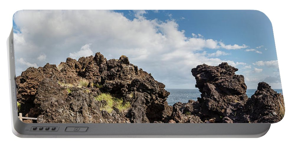 Photography Portable Battery Charger featuring the photograph View Of Lava Rock On The Coast, Pico by Panoramic Images
