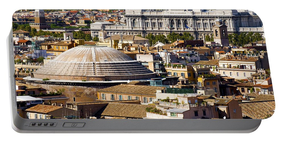 Old Portable Battery Charger featuring the photograph View Of Rome's Rooftops by Fabrizio Troiani