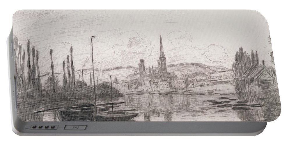 French Portable Battery Charger featuring the drawing View Of Rouen by Claude Monet