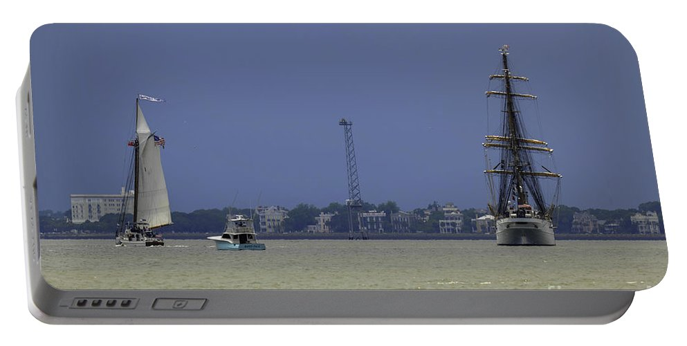 Tall Ships Portable Battery Charger featuring the photograph Windward View Of The Battery by Dale Powell