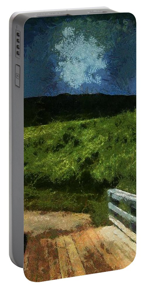 Bridge Portable Battery Charger featuring the painting View Of The Night Sky From The Old Bridge by RC DeWinter