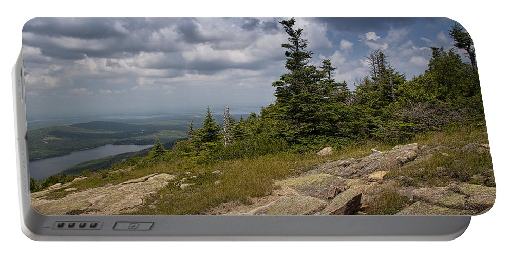Art Portable Battery Charger featuring the photograph View On Top Of Cadilac Mountain In Acadia National Park by Randall Nyhof