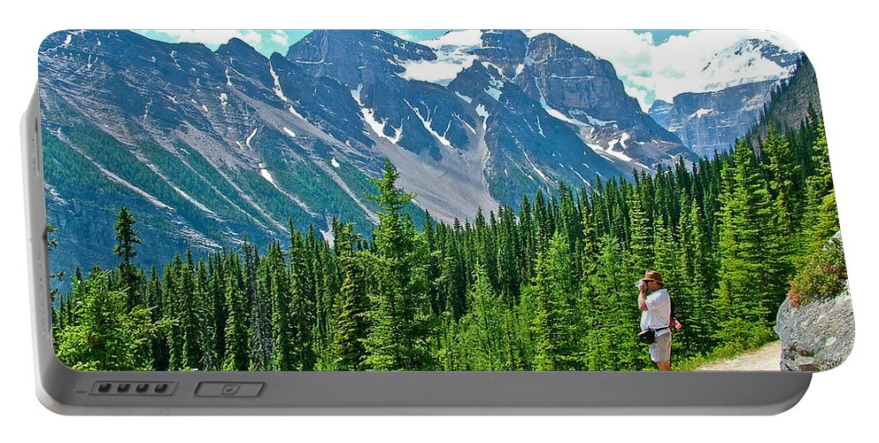View On Trail To Lake Agnes In Banff National Park Portable Battery Charger featuring the photograph View On Trail To Lake Agnes In Banff Np-alberta by Ruth Hager