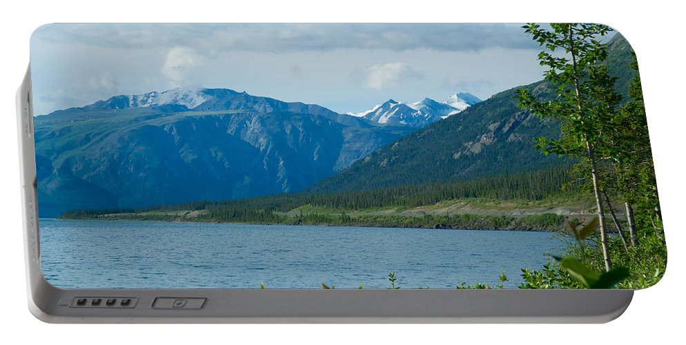 View One Kluane Lake From Cottonwood Campground Near Destruction Bay Portable Battery Charger featuring the photograph View One Kluane Lake From Cottonwood Campground Near Destruction Bay-yk  by Ruth Hager