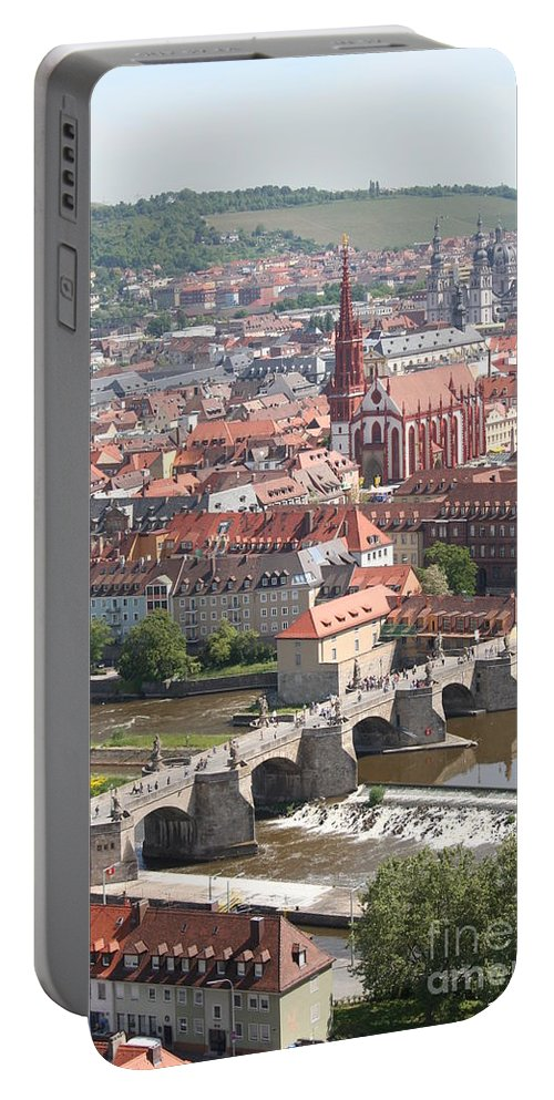 Churches Portable Battery Charger featuring the photograph View Onto The Town Of Wuerzburg - Germany by Christiane Schulze Art And Photography