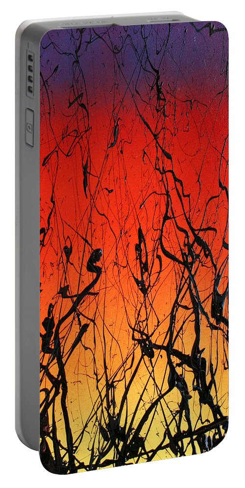 Psychedelic Portable Battery Charger featuring the painting View Through The Tall Grass by Ric Bascobert