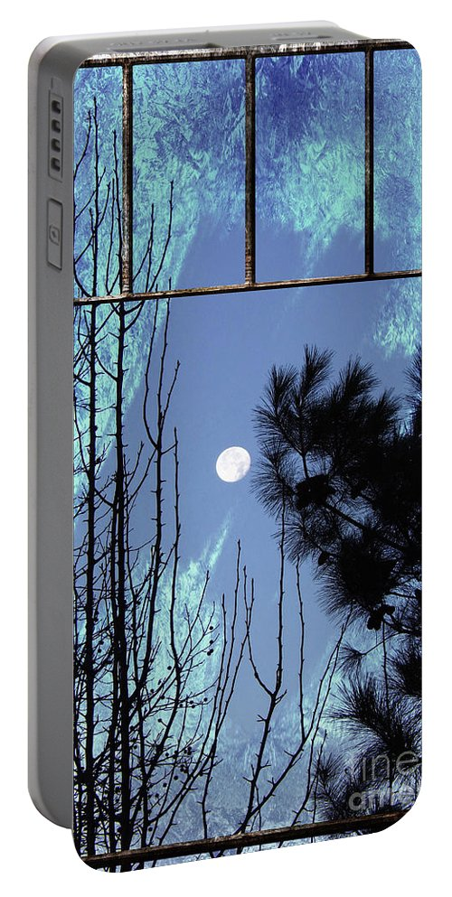 Full Moon Portable Battery Charger featuring the photograph View Thru Frost by Kelley Freel-Ebner