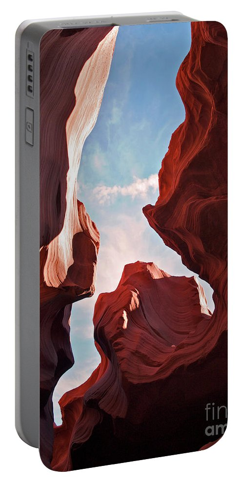 Landscape Portable Battery Charger featuring the photograph View To The Heavens From Antelope Canyon In Arizona by Alex Cassels