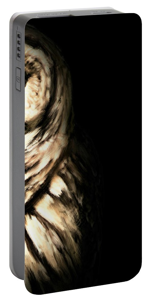 Owl Portable Battery Charger featuring the photograph Vigilant In Darkness by Lourry Legarde