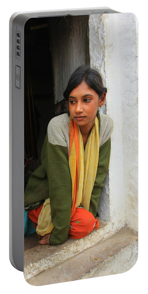 Young Girl Portable Battery Charger featuring the photograph Village Girl India by Amanda Stadther