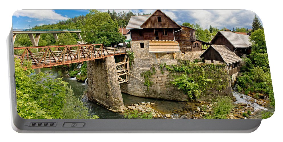 Platform Portable Battery Charger featuring the photograph Village Of Rastoke River Canyon by Brch Photography