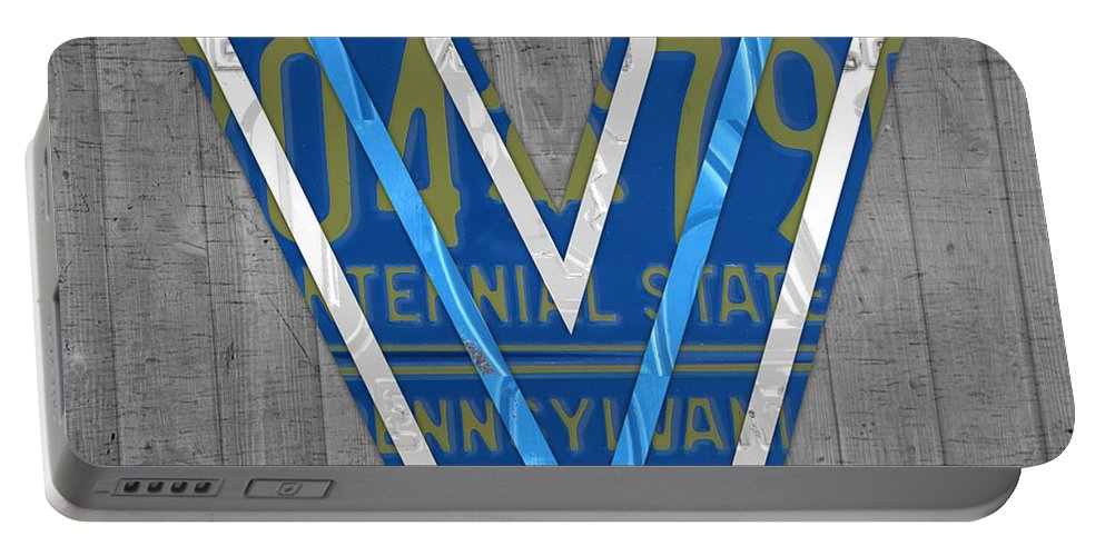 Villanova Portable Battery Charger featuring the mixed media Villanova Wildcats College Sports Team Retro Vintage Recycled Pennsylvania License Plate Art by Design Turnpike