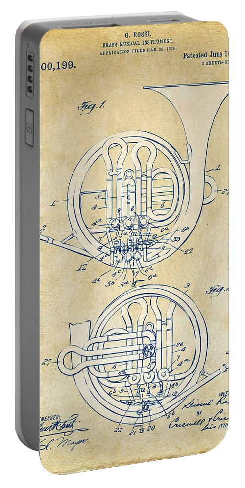 French Horn Portable Battery Charger featuring the digital art Vintage 1914 French Horn Patent Artwork by Nikki Marie Smith