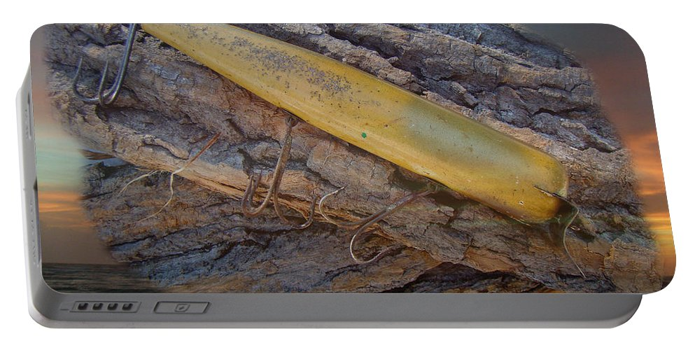Fishing Portable Battery Charger featuring the photograph Vintage Atom Wooden Fishing Lure - Saltwater by Mother Nature