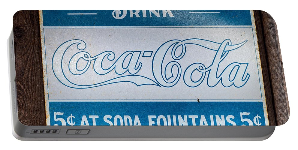 Coca Portable Battery Charger featuring the photograph Vintage Coca Cola Ad by Les Palenik