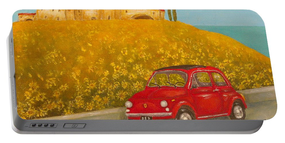 Allegretto Art Portable Battery Charger featuring the painting Vintage Fiat 500 by Pamela Allegretto