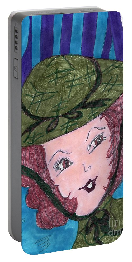 Red Haired Girl With Green Hat Portable Battery Charger featuring the mixed media Vintage Fifties by Elinor Helen Rakowski