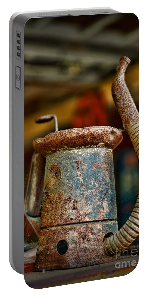 Paul Ward Portable Battery Charger featuring the photograph Vintage Garage Oil Can by Paul Ward