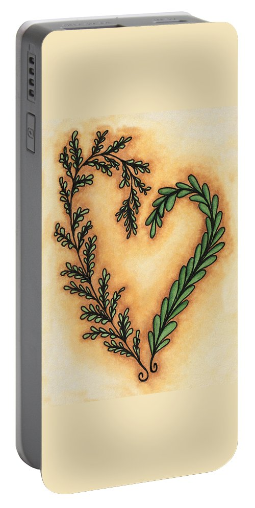 Vantage Portable Battery Charger featuring the drawing Vintage Heart Wreath by Cindy Angiel